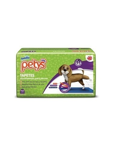 TAPETE ABSORBENTES PETYS 12 UNIDADES